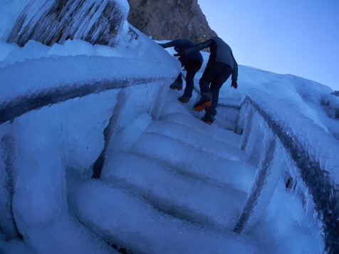 "We didn't expect that crampons will be already useful in such a ""touristic"" spot"